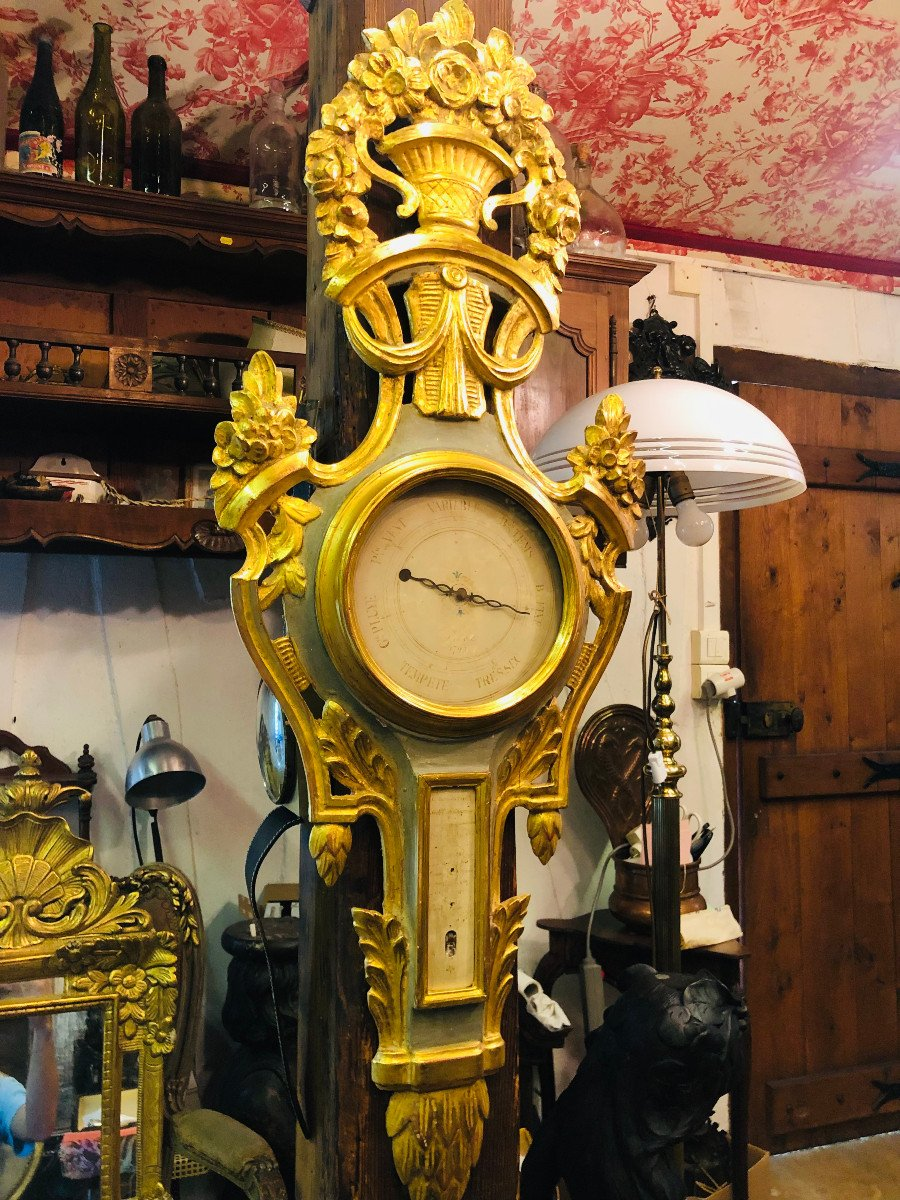Provencal Barometer In Gilded Wood From The Louis XVI Period.
