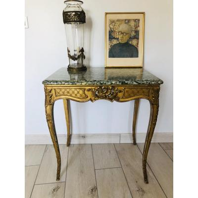 Provencal Table In Gilded Wood Surmounted By A Marble