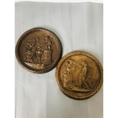 Two Bronze Medallions By François Rémond