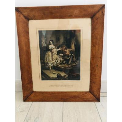"Lithographie ""Esmeralda et Quasimodo"""