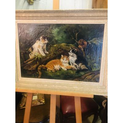 Painting Of 3 Kittens Playing In Nature By J Svobody