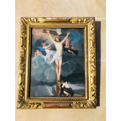Crucifixion gouache sur velin XVIIème