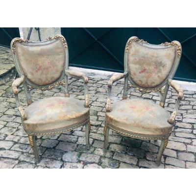 Paire de fauteuils Transition réchampis et dorés