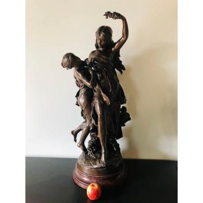 Bronze deux personnages Mathurin Moreau  (83 cm de haut)