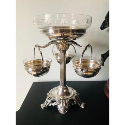 Centre de table Louis XVI cristal et métal argenté