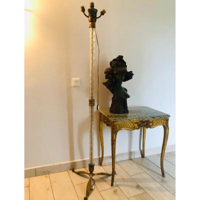 Lampadaire palmier en verre et bronze
