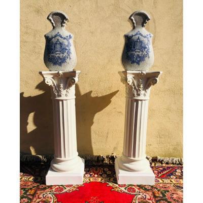 Paire de colonnes/sellettes corinthiennes.