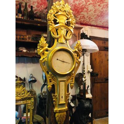 Baromètre provençal en bois doré d'époque Louis XVI  daté 1793
