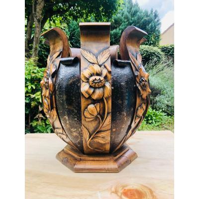 Cache -pot corbeille métal et bois