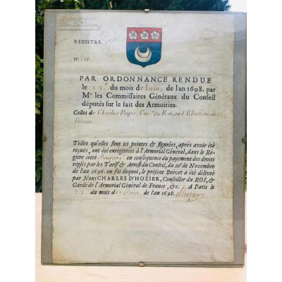 Enregistrement d'armoirie Bourgogne XVIIe