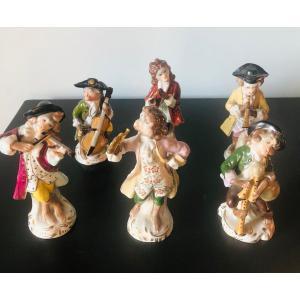 Les singes musiciens porcelaine XIXe Sitzendorf.