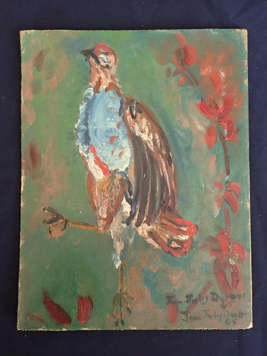 Jean-jules Dufour (1889-1973). Pintade. Huile Sur Contreplaqué.