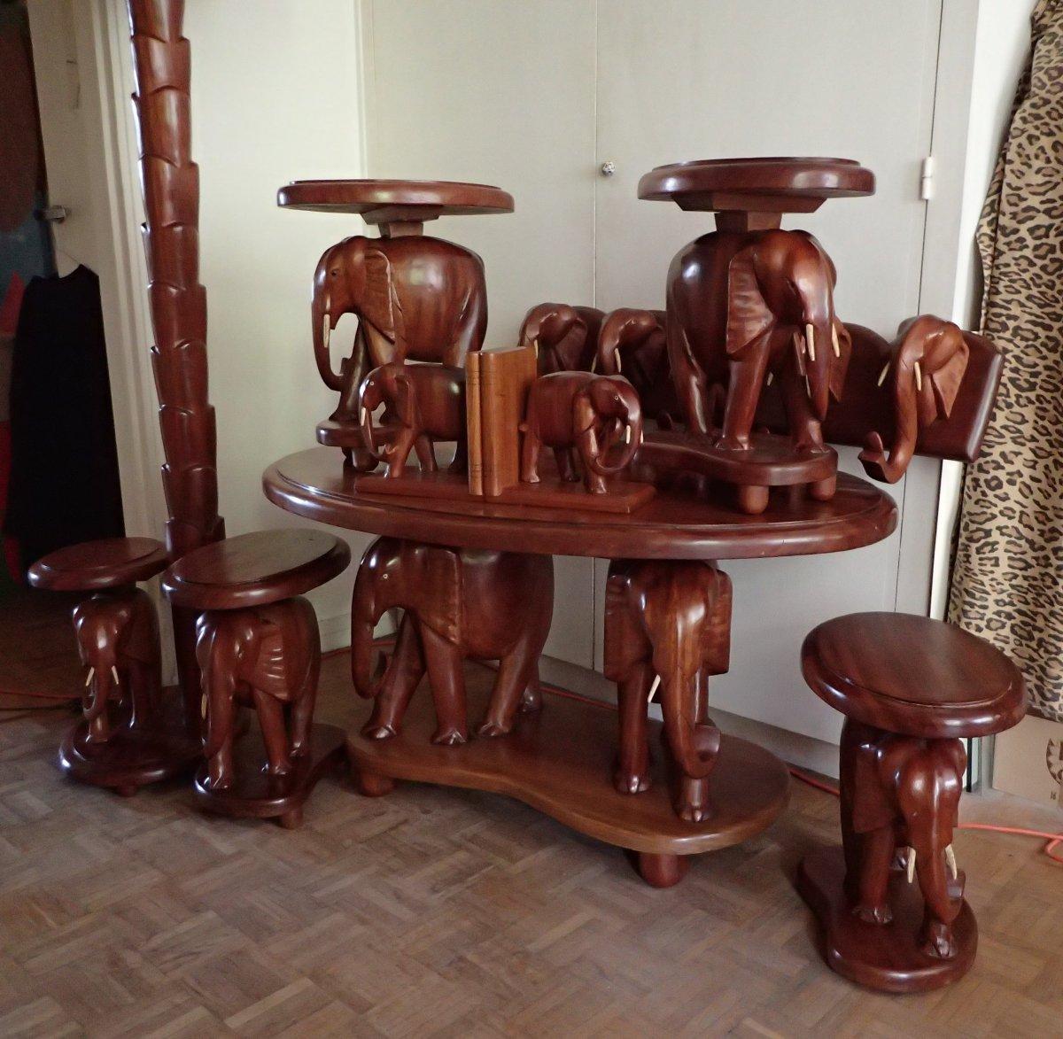 Salon With Elephants. Mahogany. Africa. 50's / 60's.