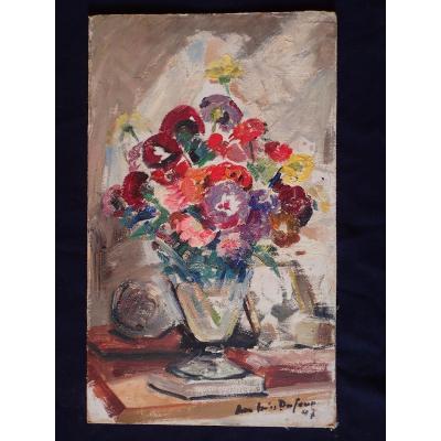 Jean-jules Dufour (1889-1973). Bouquet De Fleurs. Huile Sur Carton.