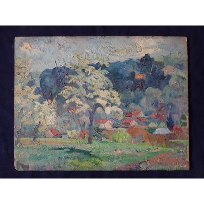 Jean-jules Dufour (1889-1973). Luxeuil. Huile Sur Carton.