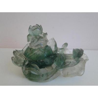 Fleur De Lotus En Quartz Jade? Chine Objet Chinois Sculpte