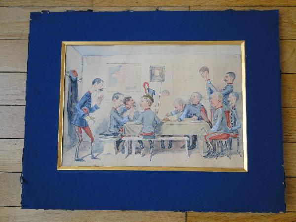 Aquarelle Sur Papier Caricature De Gressot Colonel De Lignieres 2 Eme Regiment De Chasseurs