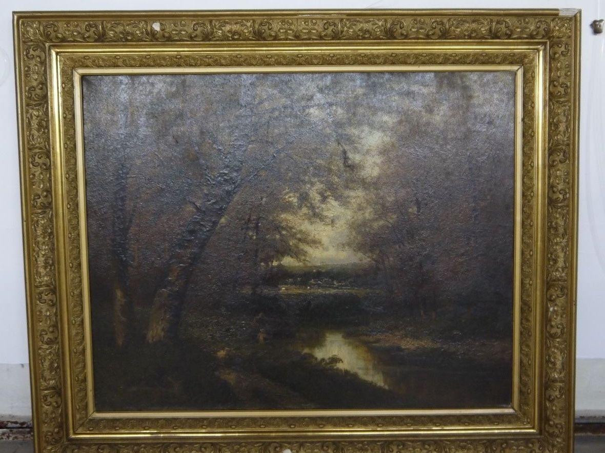 huile sur toile barbizon 19 eme cadre dore scene de pecheur tableaux autre genre. Black Bedroom Furniture Sets. Home Design Ideas