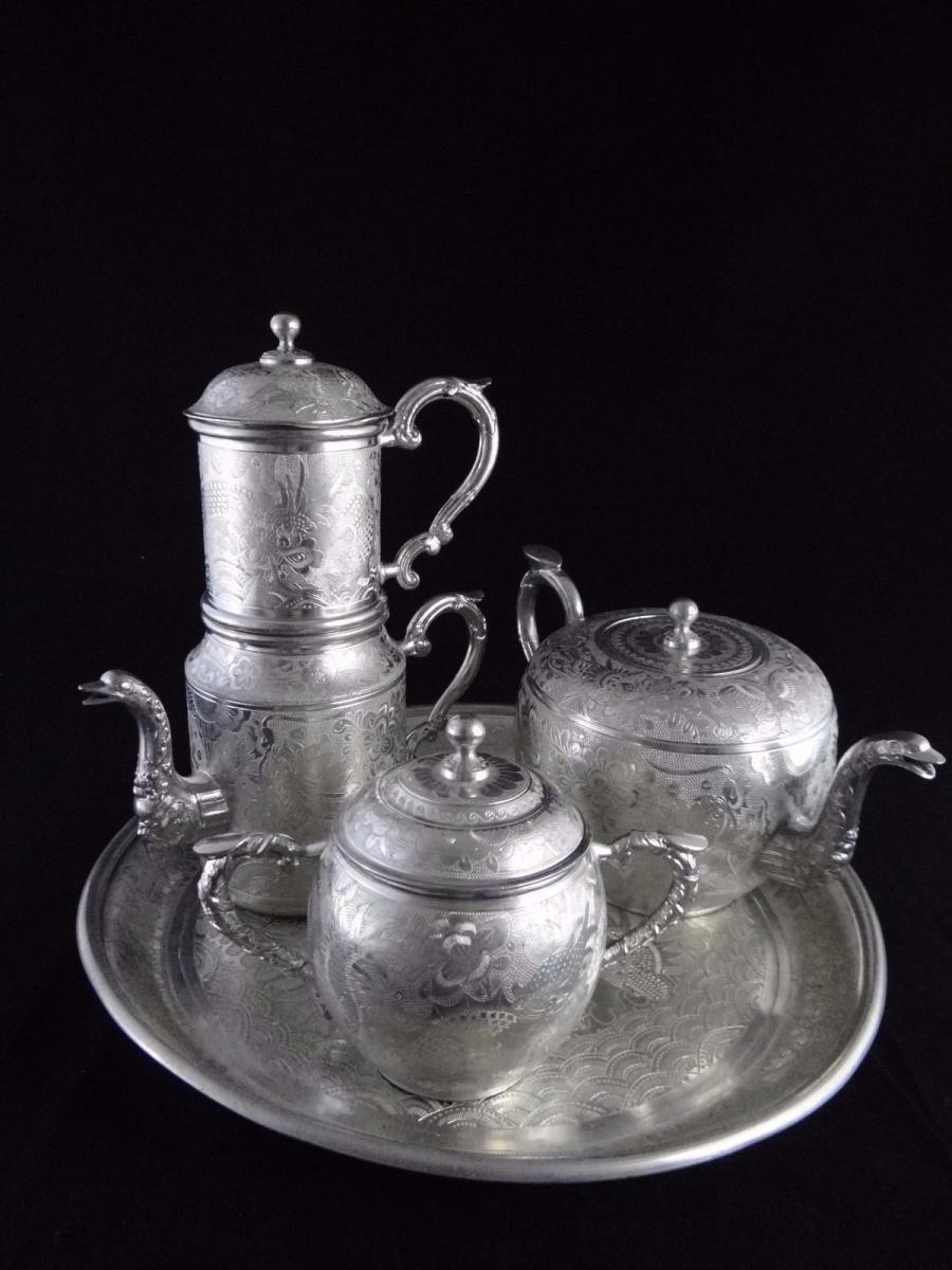Ancien Service A The En Etain Chinois Kut Hing Pewter Swatow Vers 1890