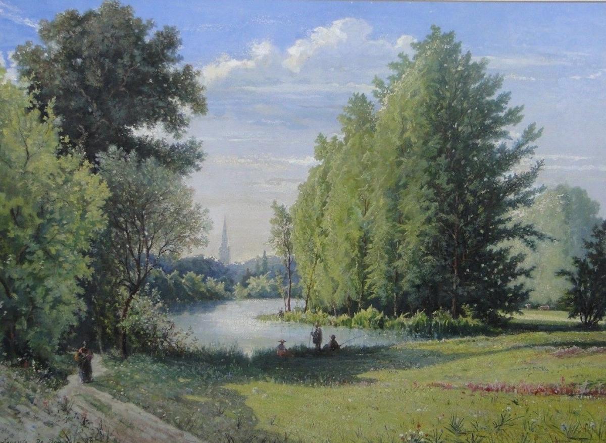 Aquarelle Huile Sur Papier Par Leconte De Roujou 1888 Paysage Parc