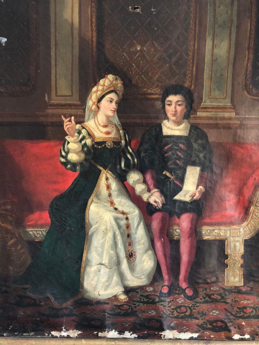 François Adolphe Eynard Huile sur toile Jeune couple sur banquette