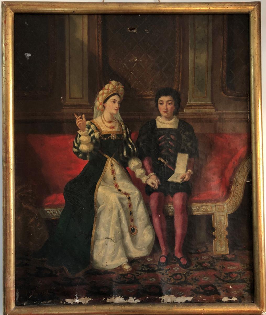 François Adolphe Eynard Huile sur toile Jeune couple sur banquette-photo-2