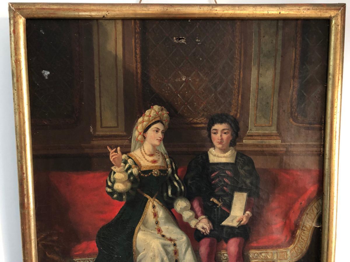 François Adolphe Eynard Huile sur toile Jeune couple sur banquette-photo-4