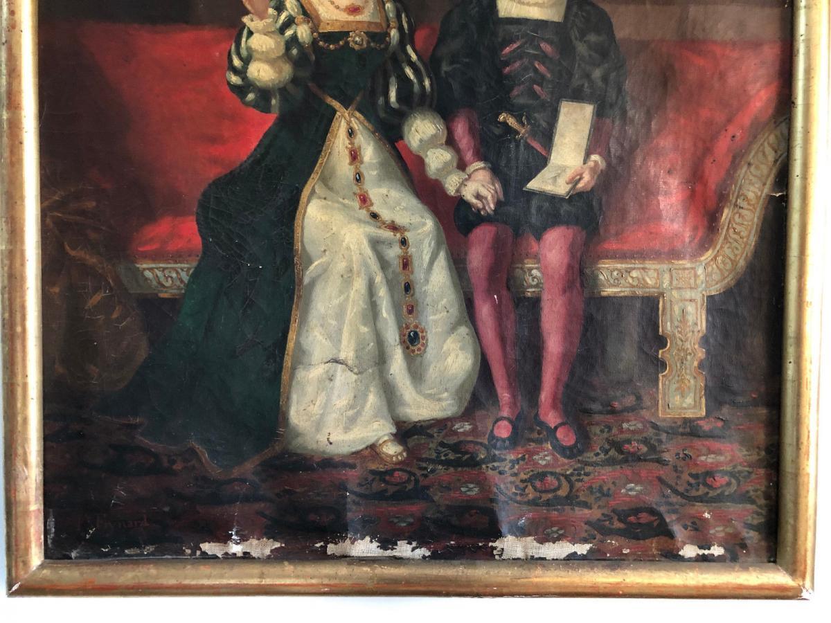 François Adolphe Eynard Huile sur toile Jeune couple sur banquette-photo-1