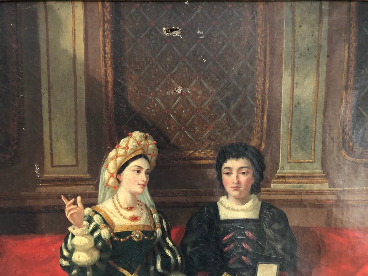 François Adolphe Eynard Huile sur toile Jeune couple sur banquette-photo-3