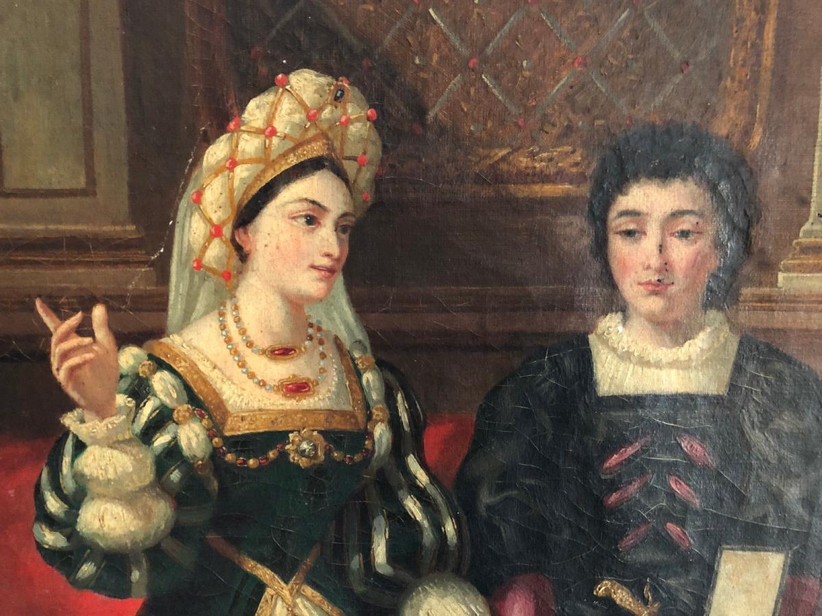 François Adolphe Eynard Huile sur toile Jeune couple sur banquette-photo-5