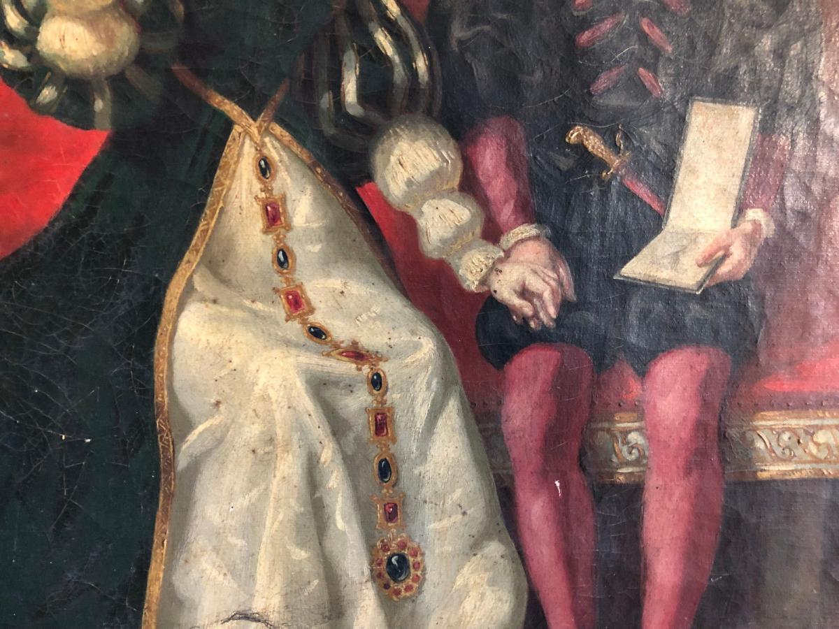François Adolphe Eynard Huile sur toile Jeune couple sur banquette-photo-6