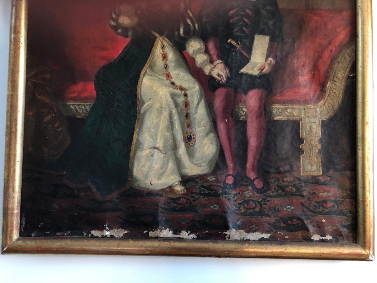 François Adolphe Eynard Huile sur toile Jeune couple sur banquette-photo-7