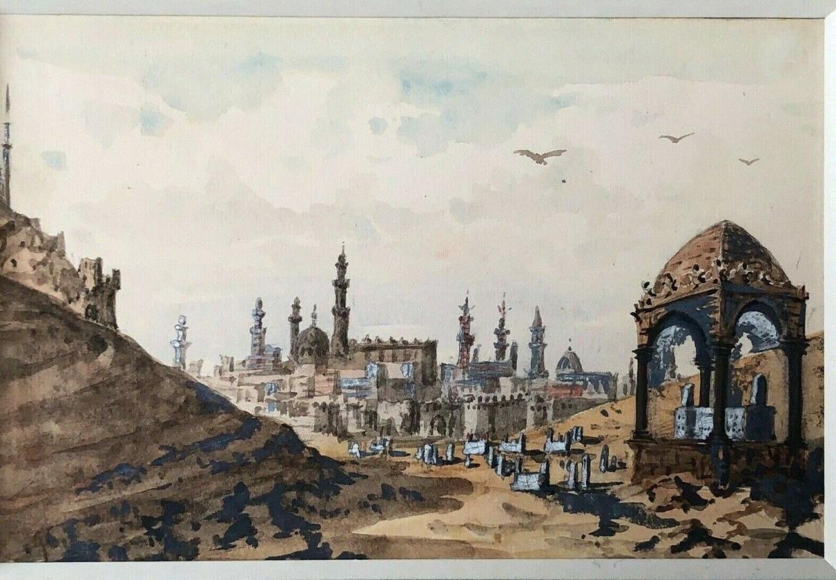 La Vallee Des Califes Apercu Sur  Le Caire Aquarelle Paysage Exotique