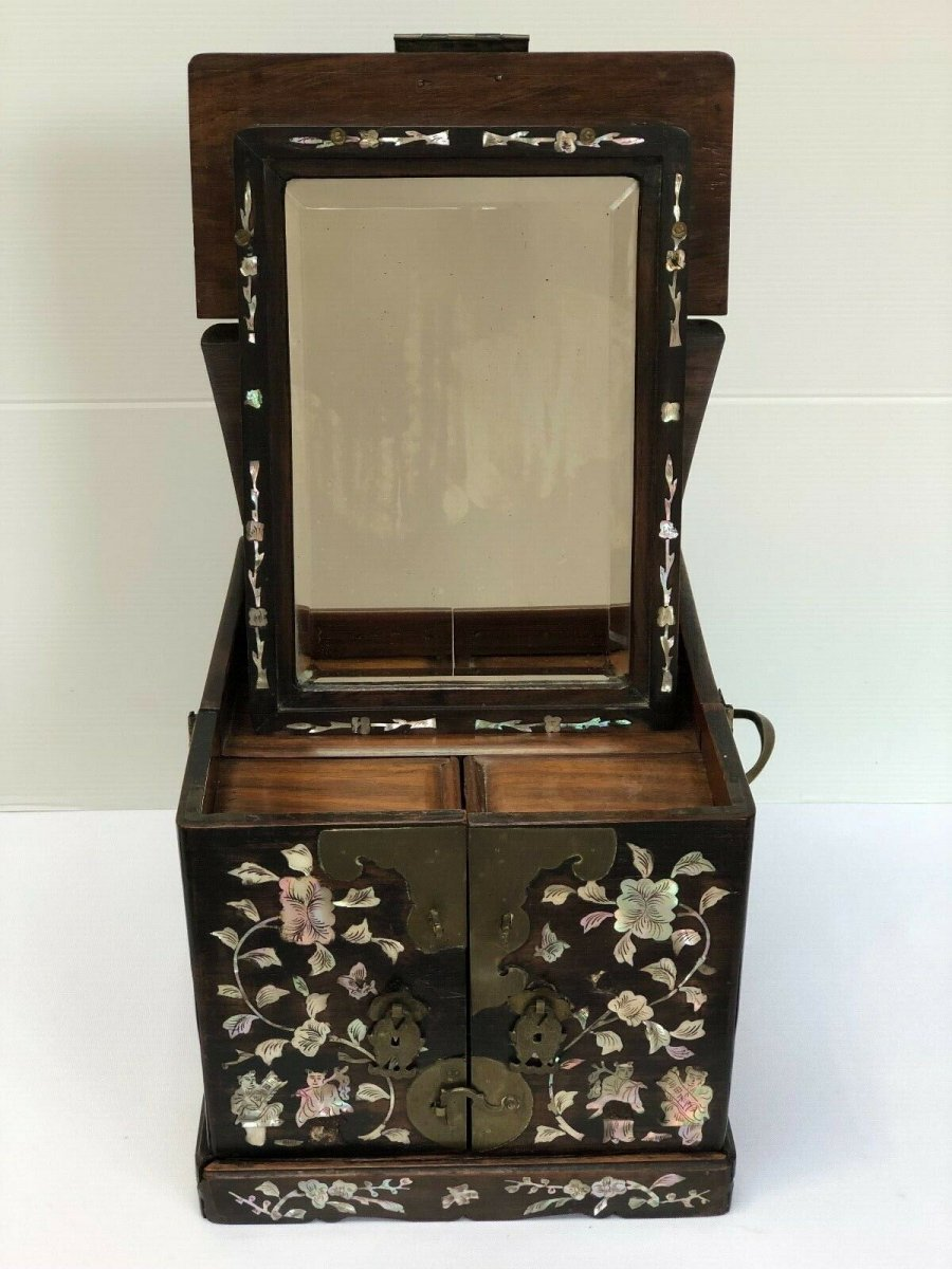 Cabinet Wood Iron Inlay Nacre Marquetry China Indochina 19th