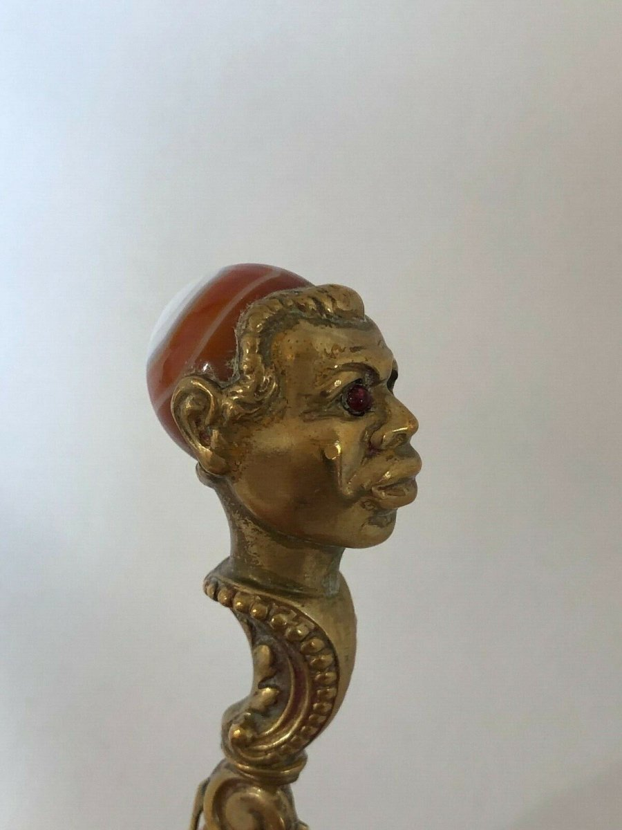 Coupe Papier 19eme Tete Africain Agate Yeux Sulfure Bronze -photo-4