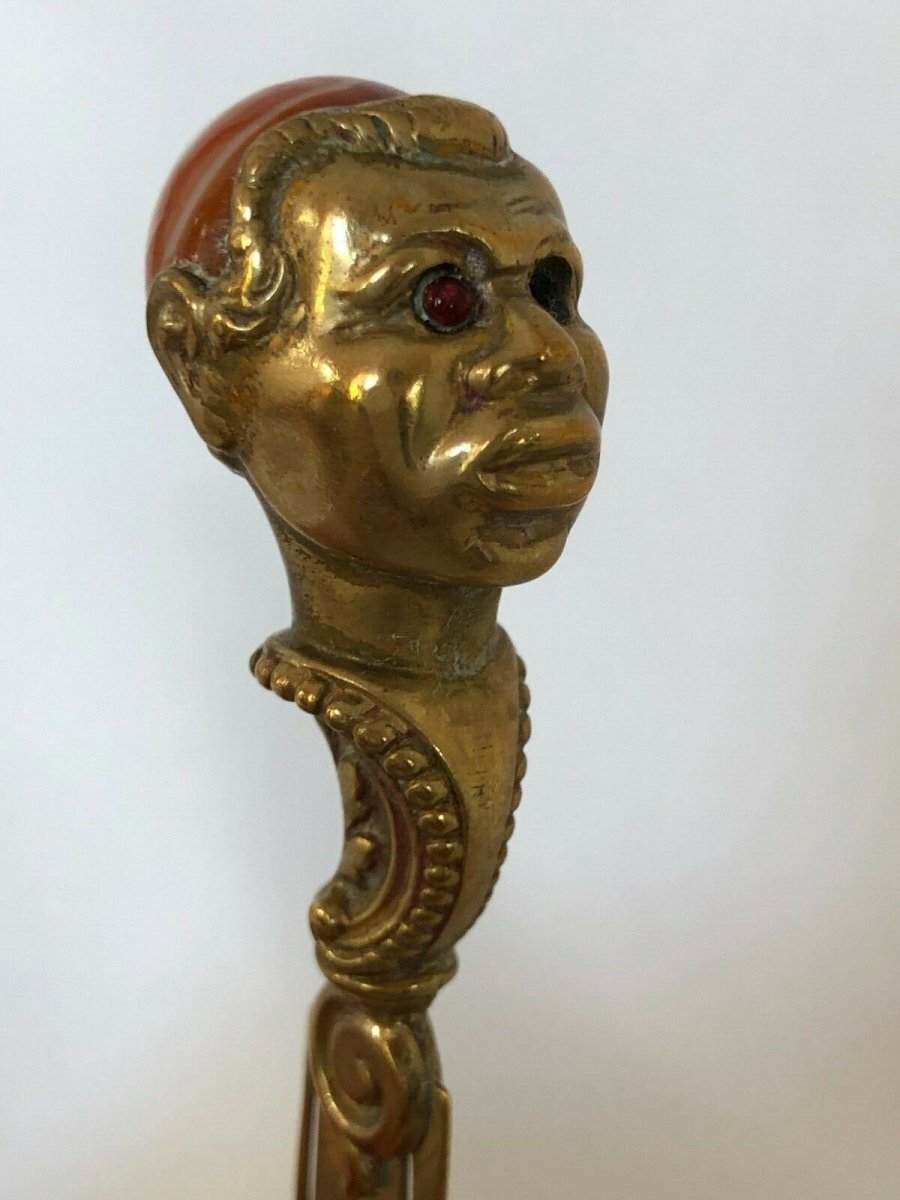 Coupe Papier 19eme Tete Africain Agate Yeux Sulfure Bronze