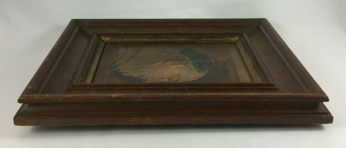 Oil On Panel Representing A Monk Profile Natural Wood Frame-photo-3