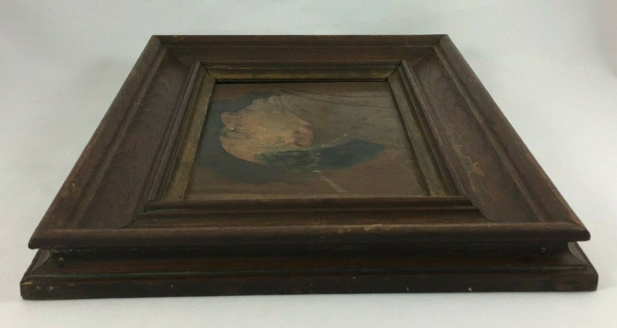Oil On Panel Representing A Monk Profile Natural Wood Frame-photo-4