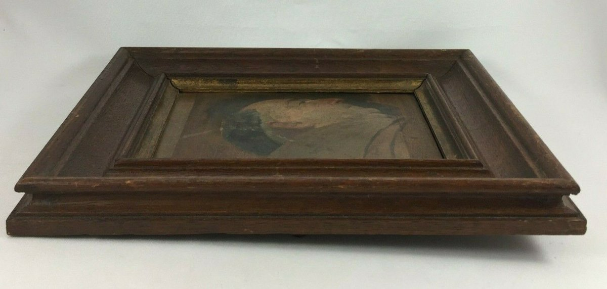 Oil On Panel Representing A Monk Profile Natural Wood Frame-photo-1