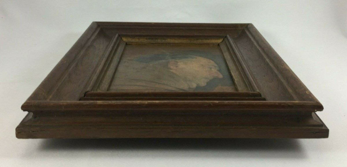 Oil On Panel Representing A Monk Profile Natural Wood Frame-photo-2