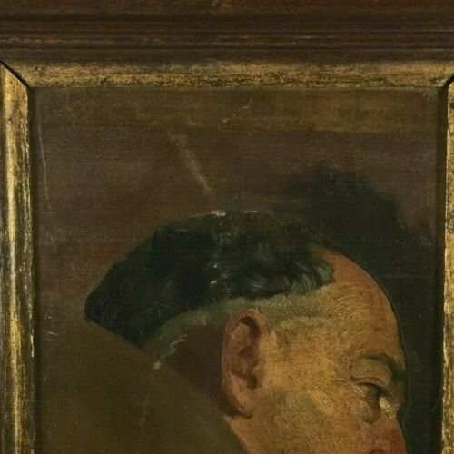 Oil On Panel Representing A Monk Profile Natural Wood Frame-photo-6