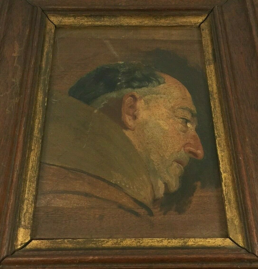Oil On Panel Representing A Monk Profile Natural Wood Frame-photo-7