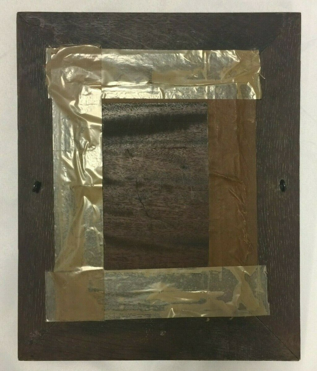 Oil On Panel Representing A Monk Profile Natural Wood Frame-photo-8