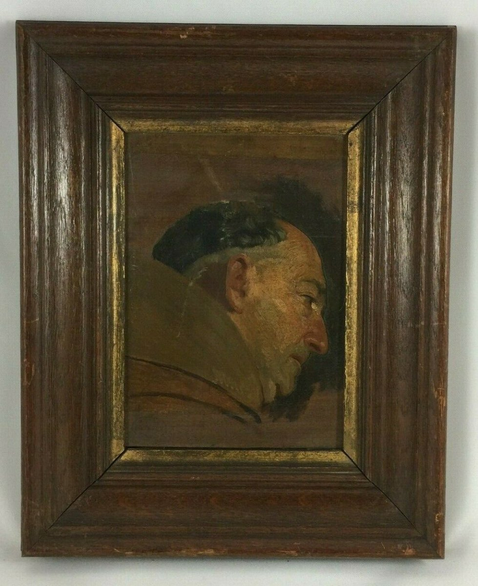 Oil On Panel Representing A Monk Profile Natural Wood Frame