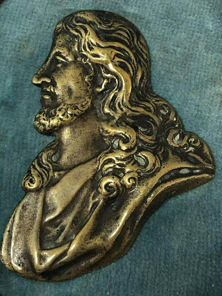 Medal Profile Christ In Bronze On Wood Frame 19 Eme