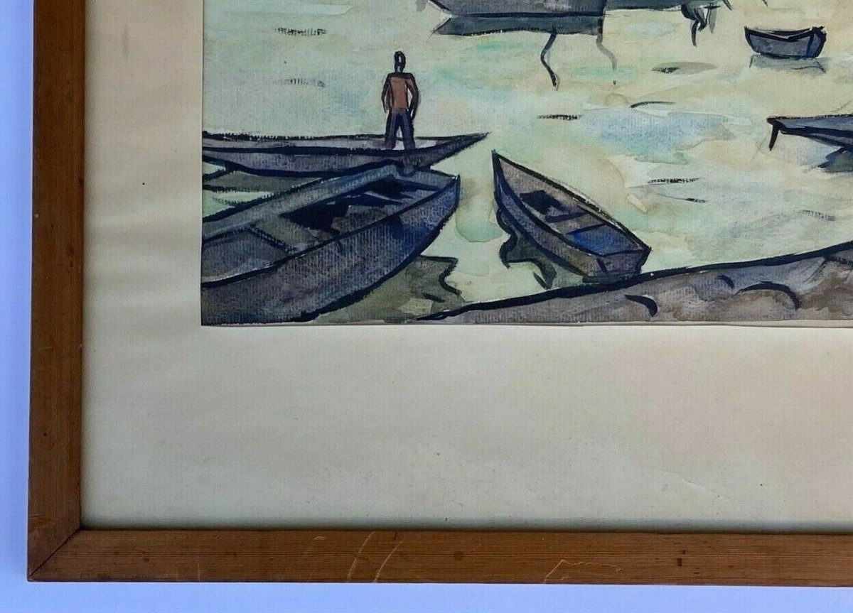 Watercolor On Paper By Robert Louis Antral Scene Of Sinners-photo-2