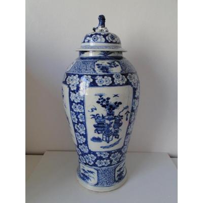 Grand Vase Bleu Et Blanc Chine 19 Eme En L Etat Avec Chien De Fo