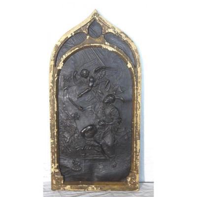 Cadre 19eme Gothique En Cuir Scene Religieuse