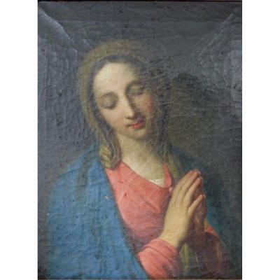 Vierge En Priere Huile Sur Toile Fin 18 Eme Debut 19Ème Cadre DorÉ