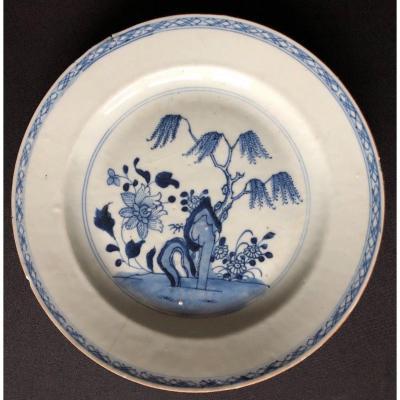 Assiette En Porcelaine Decor Floral Bleu Et Blanc Chine 18eme